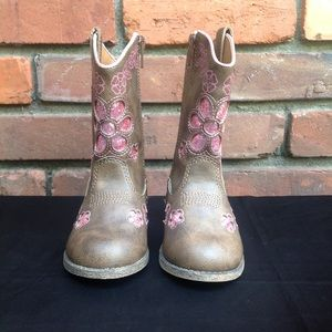 Sequined Brown and Pink Boots